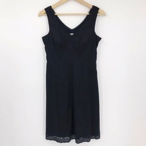 Garnet Hill Sleeveless VNeck Tank Dress Lace Trim